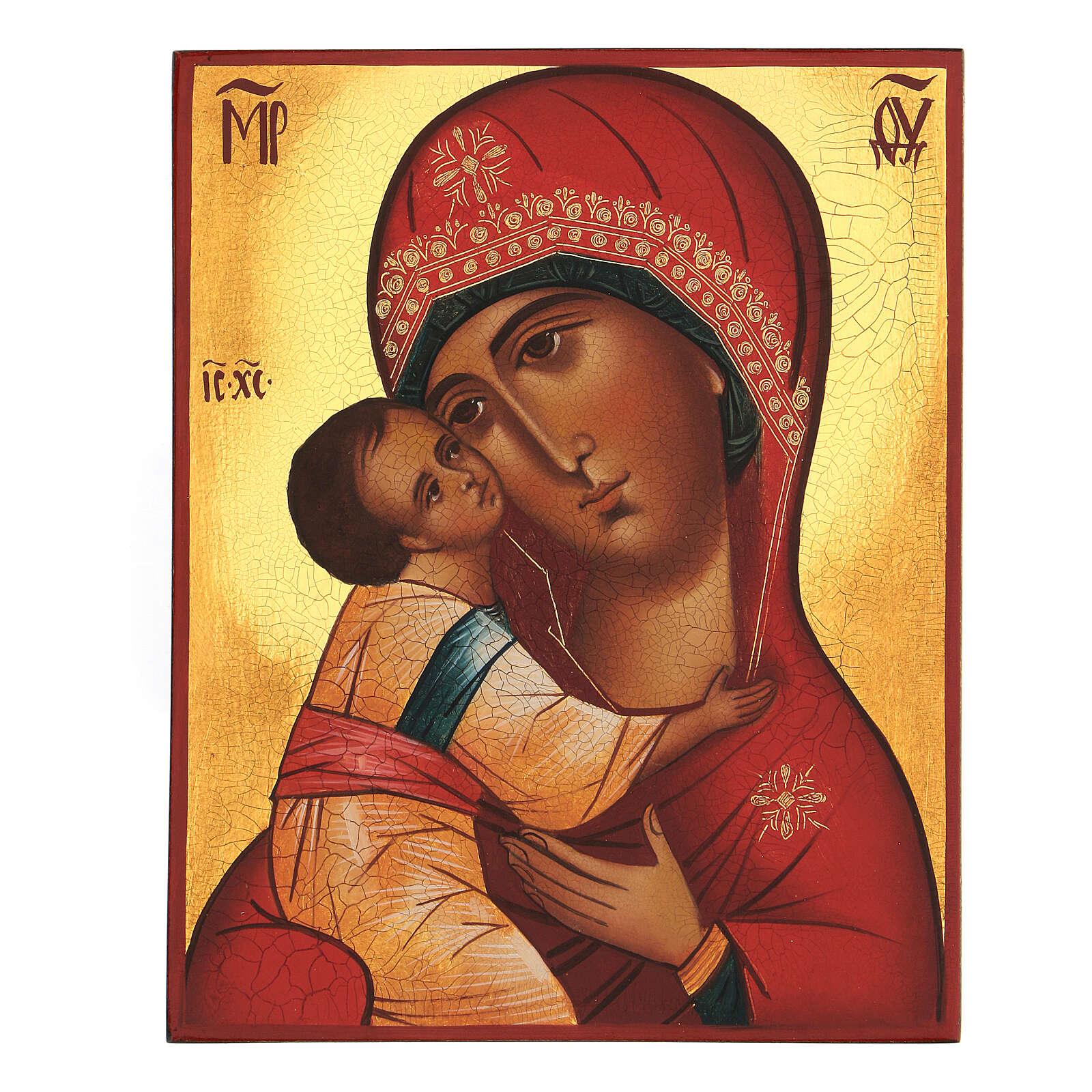 Icona russa dipinta Madonna del principe Igor 14x10 cm 4