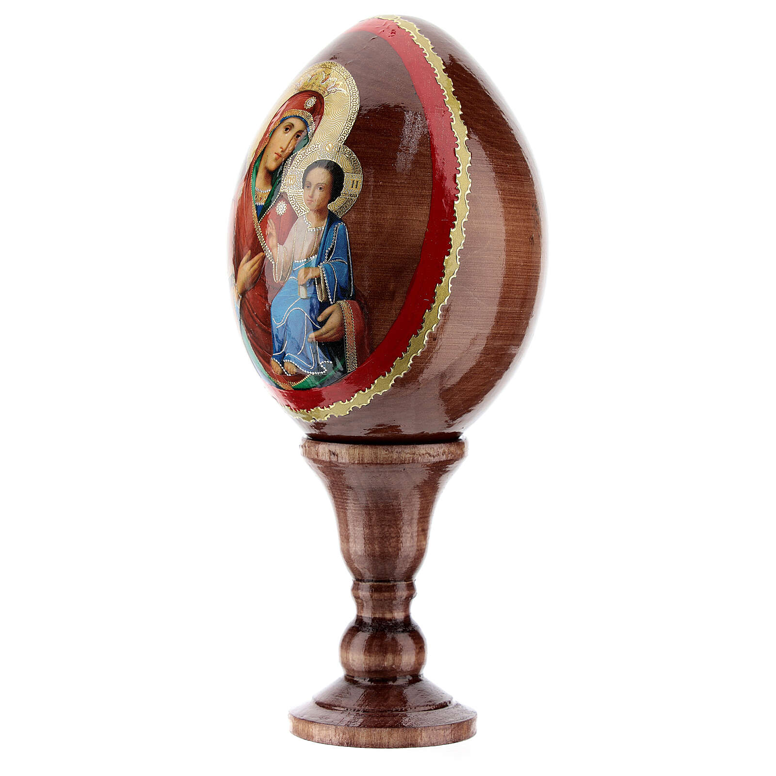 Uovo legno icona russa Iverskaya h. tot 13 cm 4