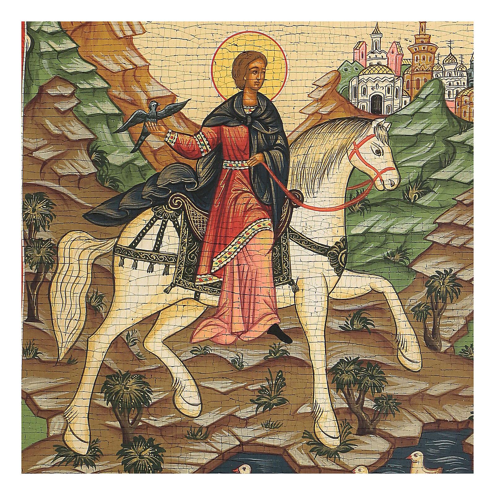 Icona San Trifone Russia zarista XX secolo 32x25 cm 4