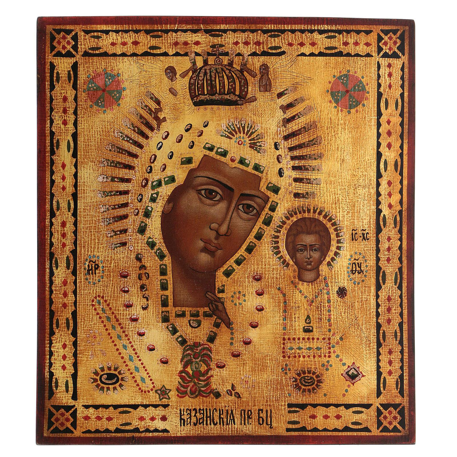 Icona Madonna di Kazan dipinta oro stile russo antichizzata 35x30 cm 4