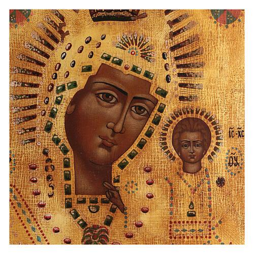 Icona Madonna di Kazan dipinta oro stile russo antichizzata 35x30 cm 2