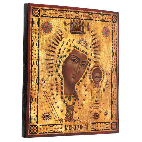 Icona Madonna di Kazan dipinta oro stile russo antichizzata 35x30 cm 3