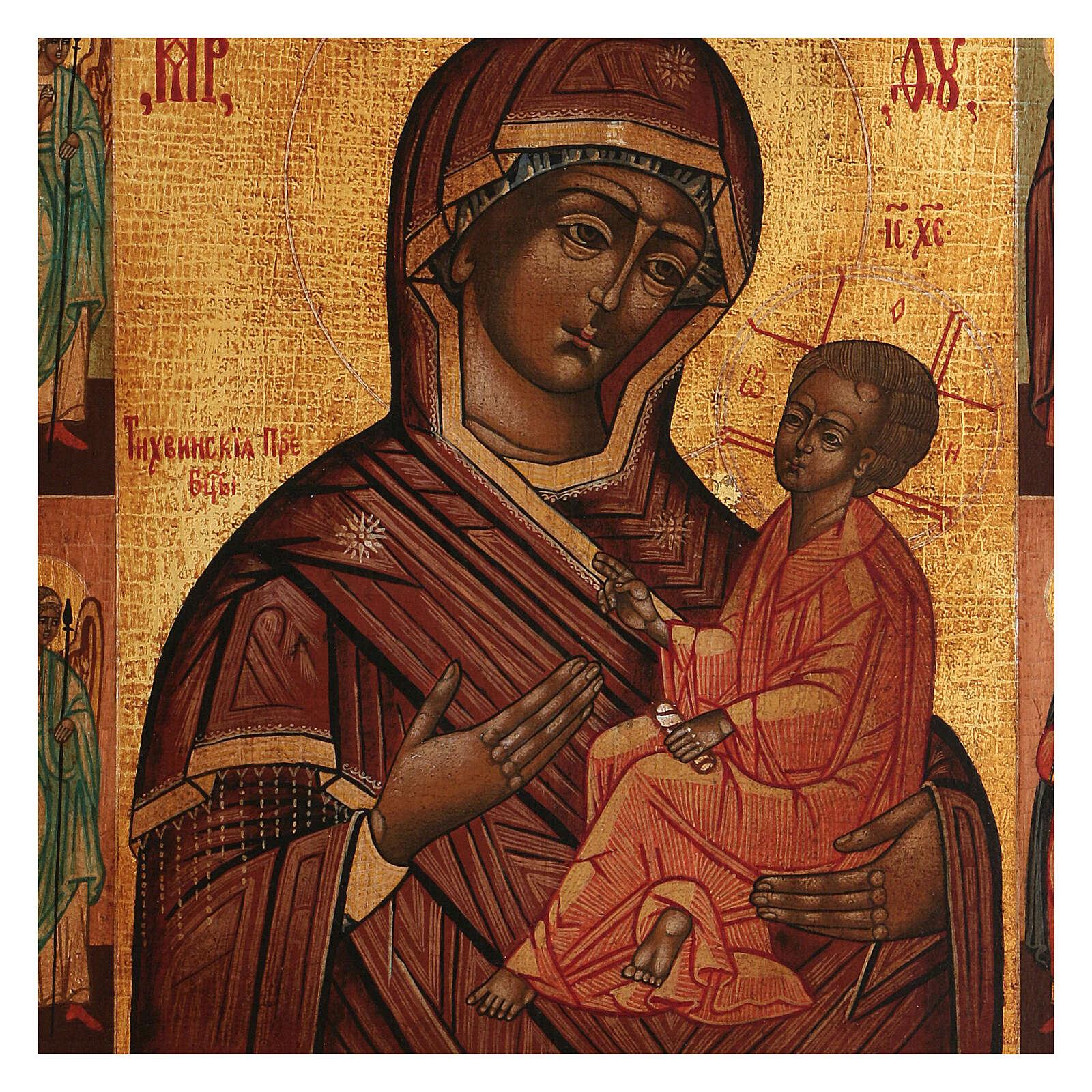 Icona Madonna Pronto Aiuto dipinta antichizzata stile russo 35x30 cm 4