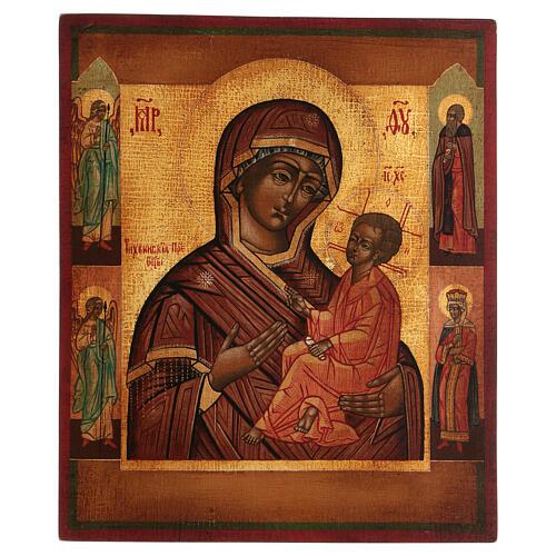 Icona Madonna Pronto Aiuto dipinta antichizzata stile russo 35x30 cm 1