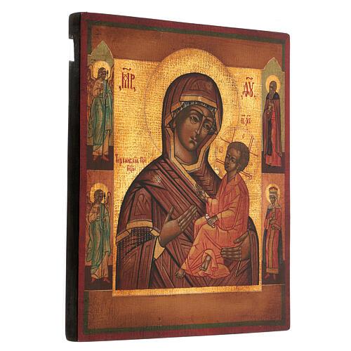 Icona Madonna Pronto Aiuto dipinta antichizzata stile russo 35x30 cm 3