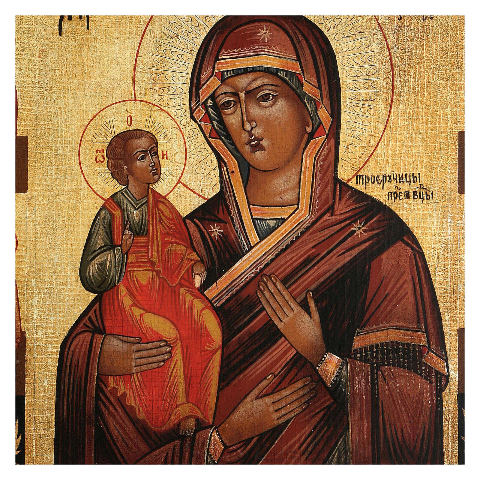 Icona antichizzata Madonna di Troiensk tre mani dipinta 30x25 cm stile russo  4