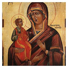Icona antichizzata Madonna di Troiensk tre mani dipinta 30x25 cm stile russo  s2