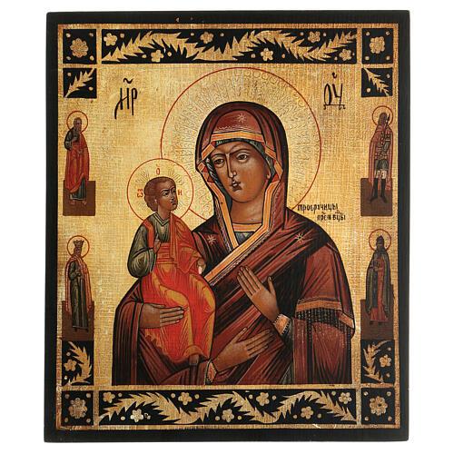 Icona antichizzata Madonna di Troiensk tre mani dipinta 30x25 cm stile russo  1