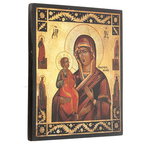 Icona antichizzata Madonna di Troiensk tre mani dipinta 30x25 cm stile russo  3