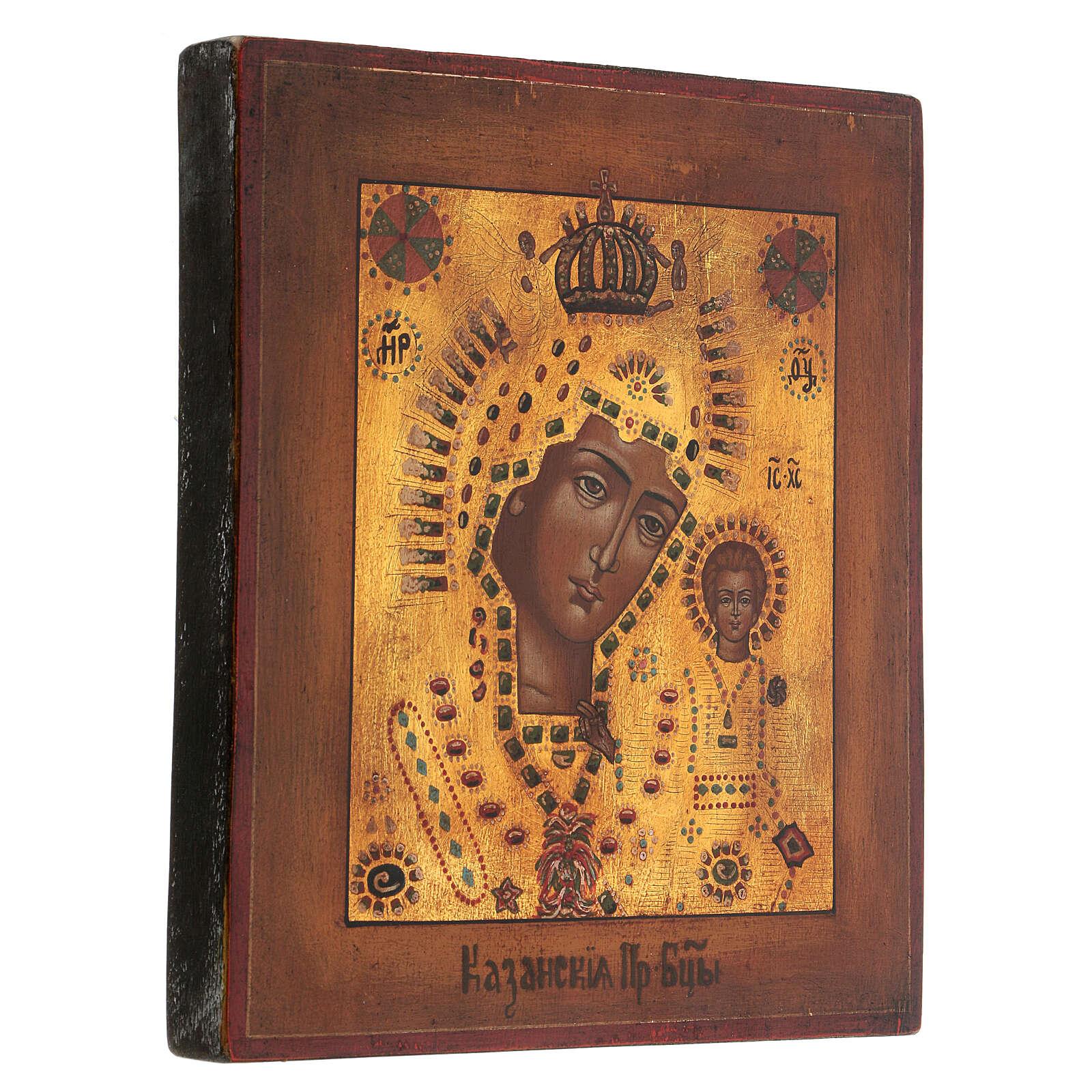 Icona Madonna di Kazan oro stile russo antichizzata dipinta 25x20 cm 4