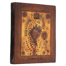 Icona Madonna di Kazan oro stile russo antichizzata dipinta 25x20 cm s3