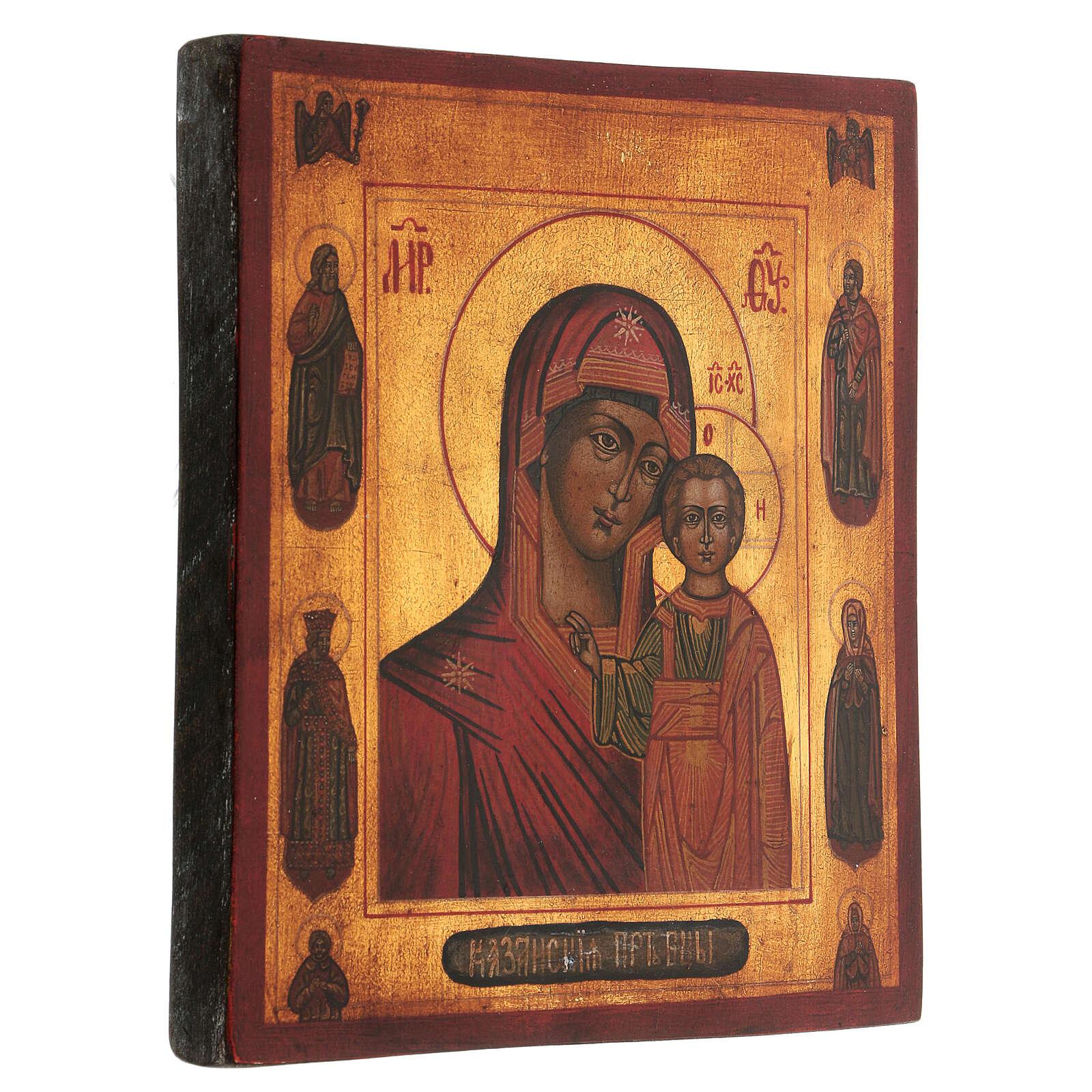 Icona Madonna di Kazan 4 santi antichizzata 25x20 cm dipinta stile russo  4
