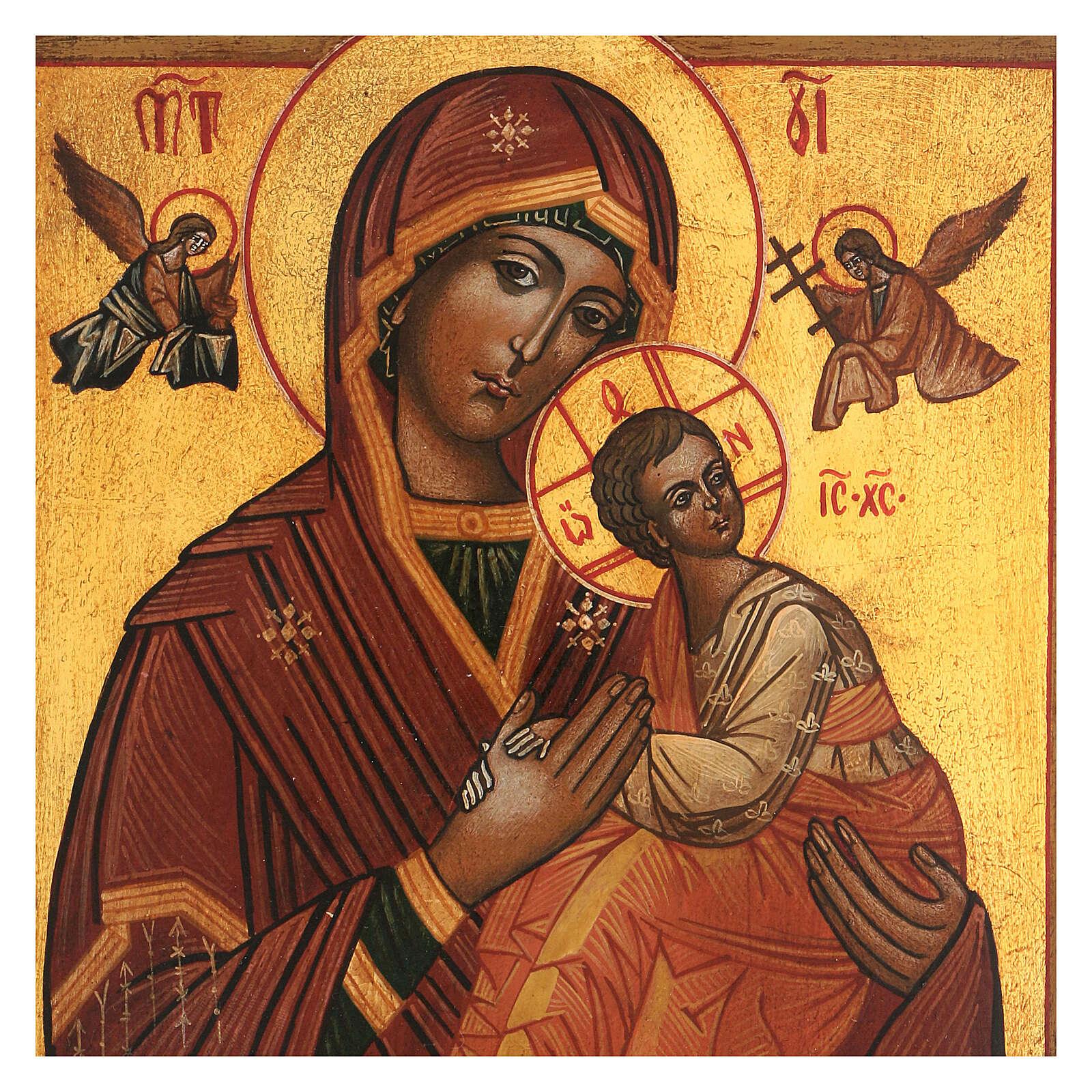 Icona Madonna Perpetuo Soccorso dipinta stile russo antichizzata 25x20 cm  4