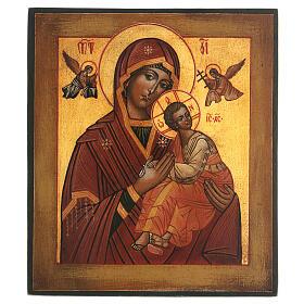 Icona Madonna Perpetuo Soccorso dipinta stile russo antichizzata 25x20 cm  s1