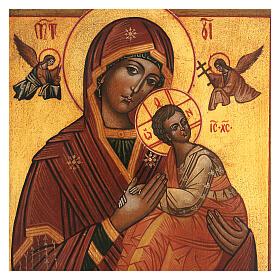 Icona Madonna Perpetuo Soccorso dipinta stile russo antichizzata 25x20 cm  s2