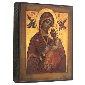 Icona Madonna Perpetuo Soccorso dipinta stile russo antichizzata 25x20 cm  s3