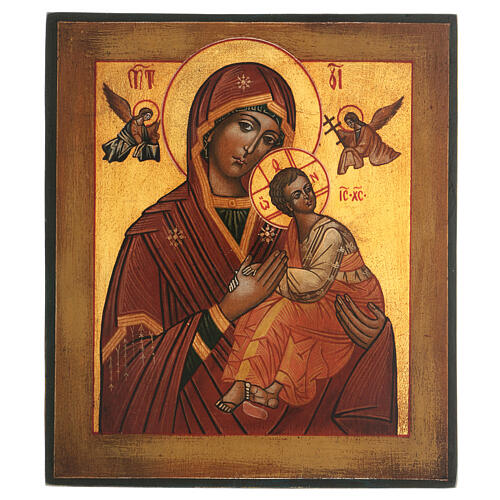 Icona Madonna Perpetuo Soccorso dipinta stile russo antichizzata 25x20 cm  1