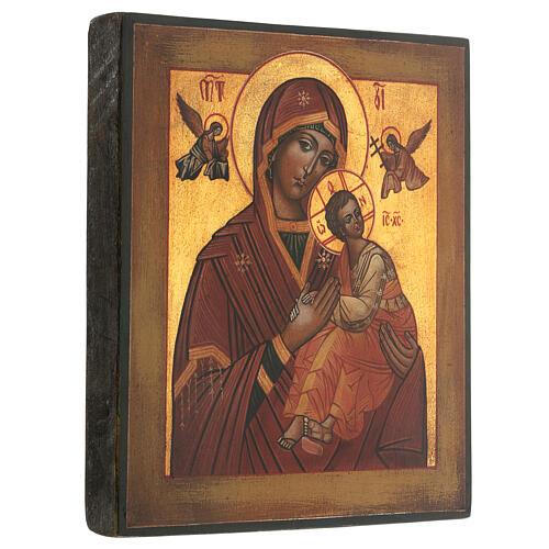 Icona Madonna Perpetuo Soccorso dipinta stile russo antichizzata 25x20 cm  3