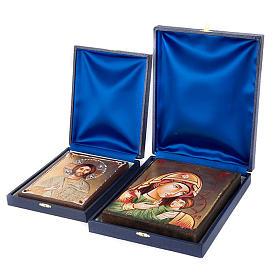 Étuis et chevalet pour icônes et tableaux: Coffret bleu, intérieur en satin