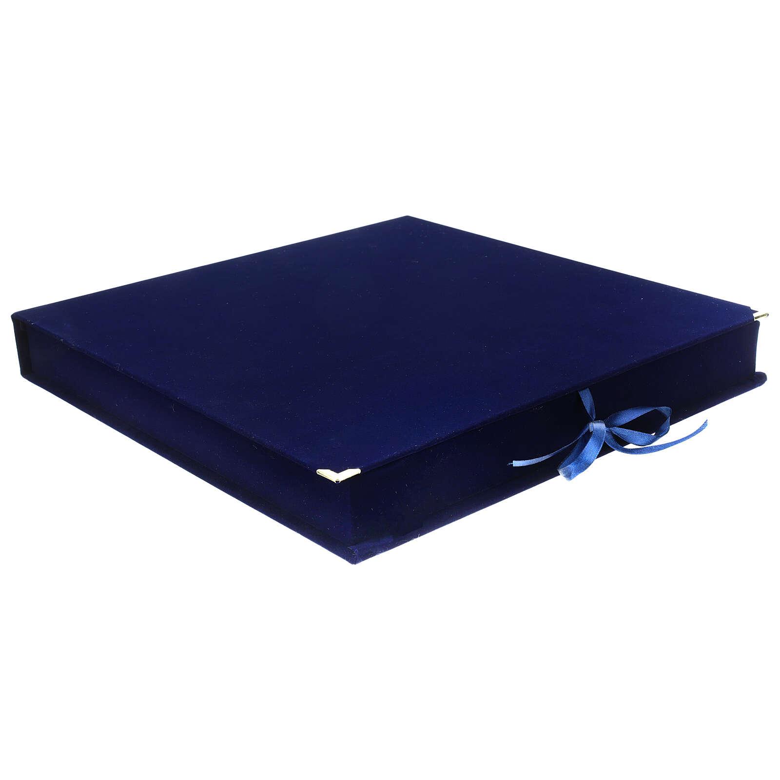 STOCK Cofanetto per icone velluto blu interno raso 35x34 cm 4
