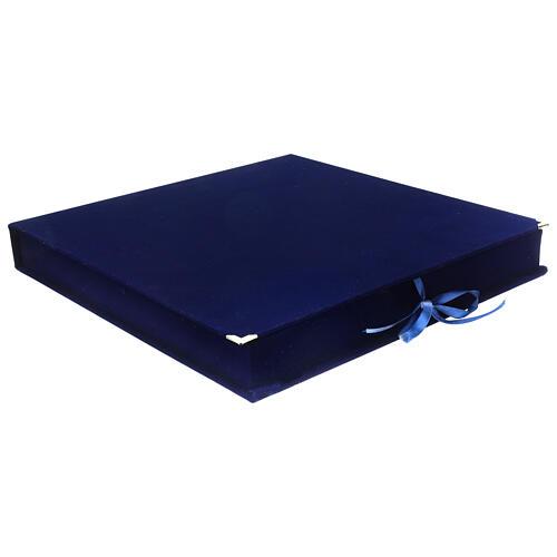 STOCK Cofanetto per icone velluto blu interno raso 35x34 cm 1