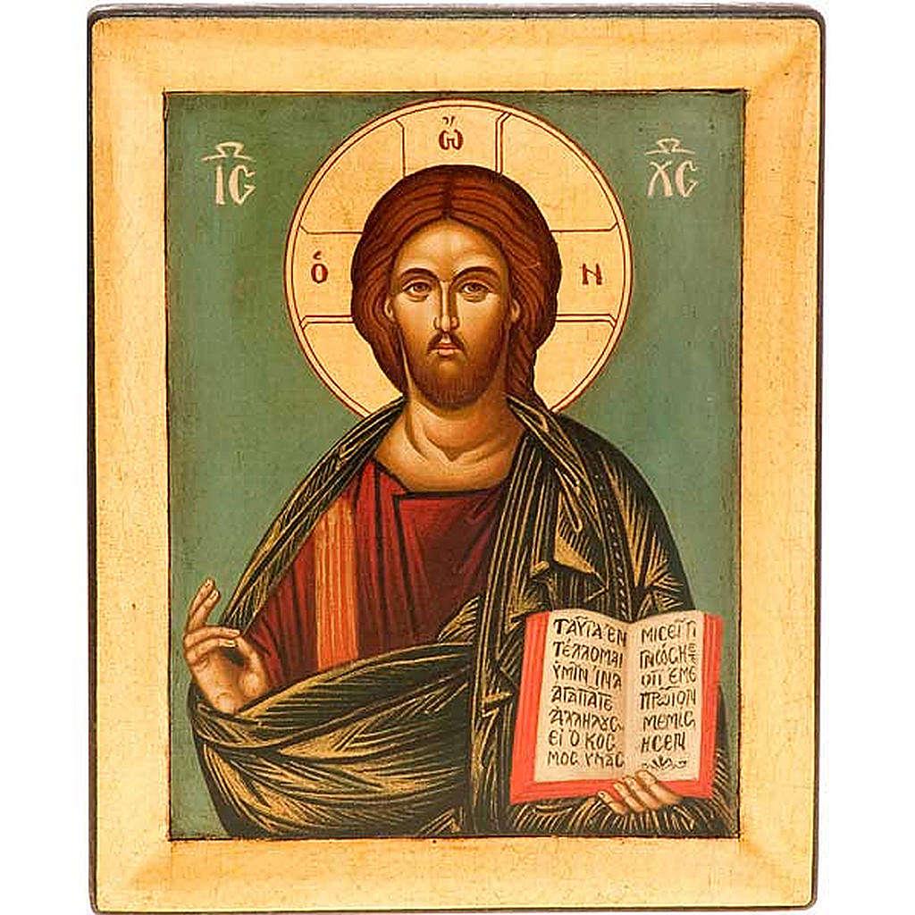 Icona Cristo Pantocratico sfondo verde 4