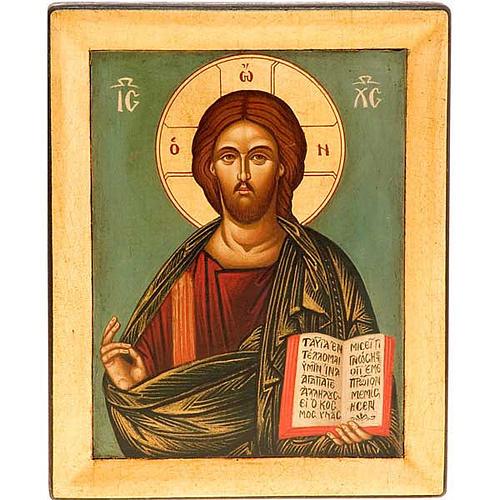 Icona Cristo Pantocratico sfondo verde 1