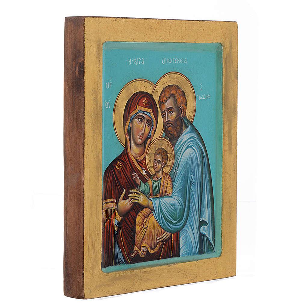 Icona Sacra Famiglia fondo verde 4