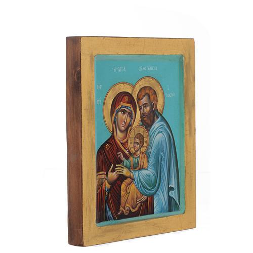 Icona Sacra Famiglia fondo verde 2