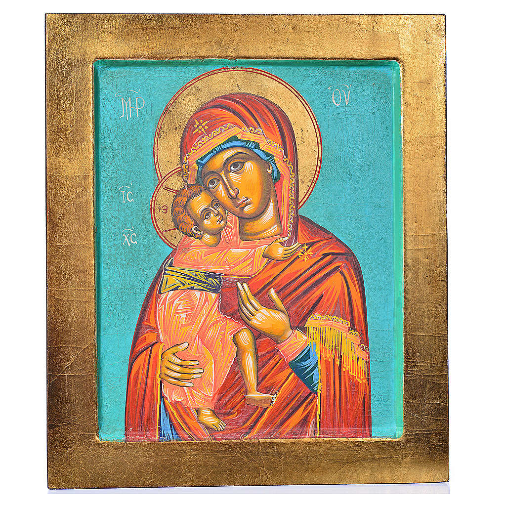 Icona Vergine Vladimir fondo verde 4