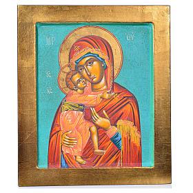 Icona Vergine Vladimir fondo verde s3