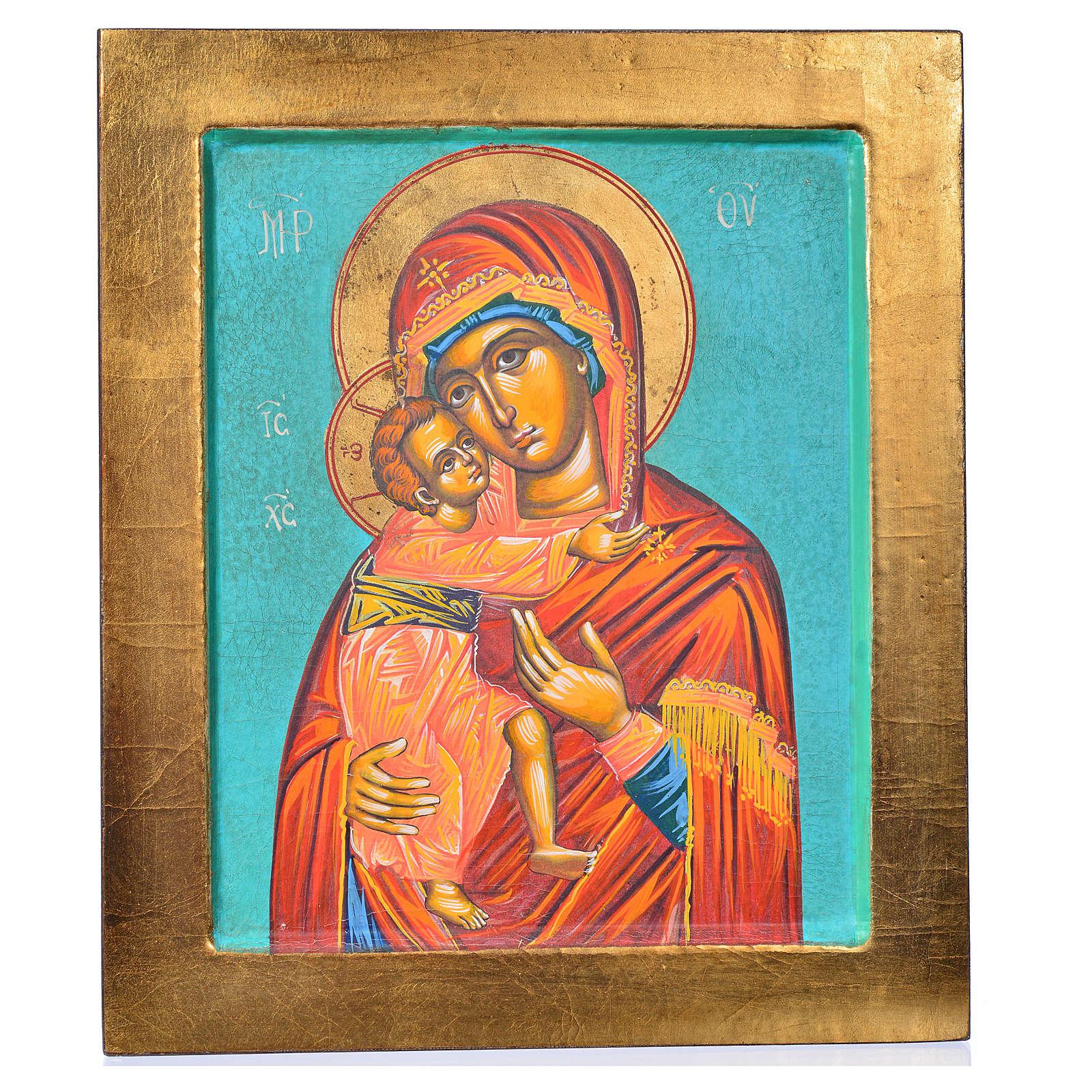 Ícone Mãe de Deus de Vladimir fundo verde 4