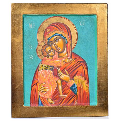 Ícone Mãe de Deus de Vladimir fundo verde 3