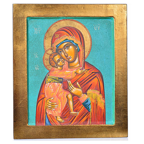 Ícone Mãe de Deus de Vladimir fundo verde 1