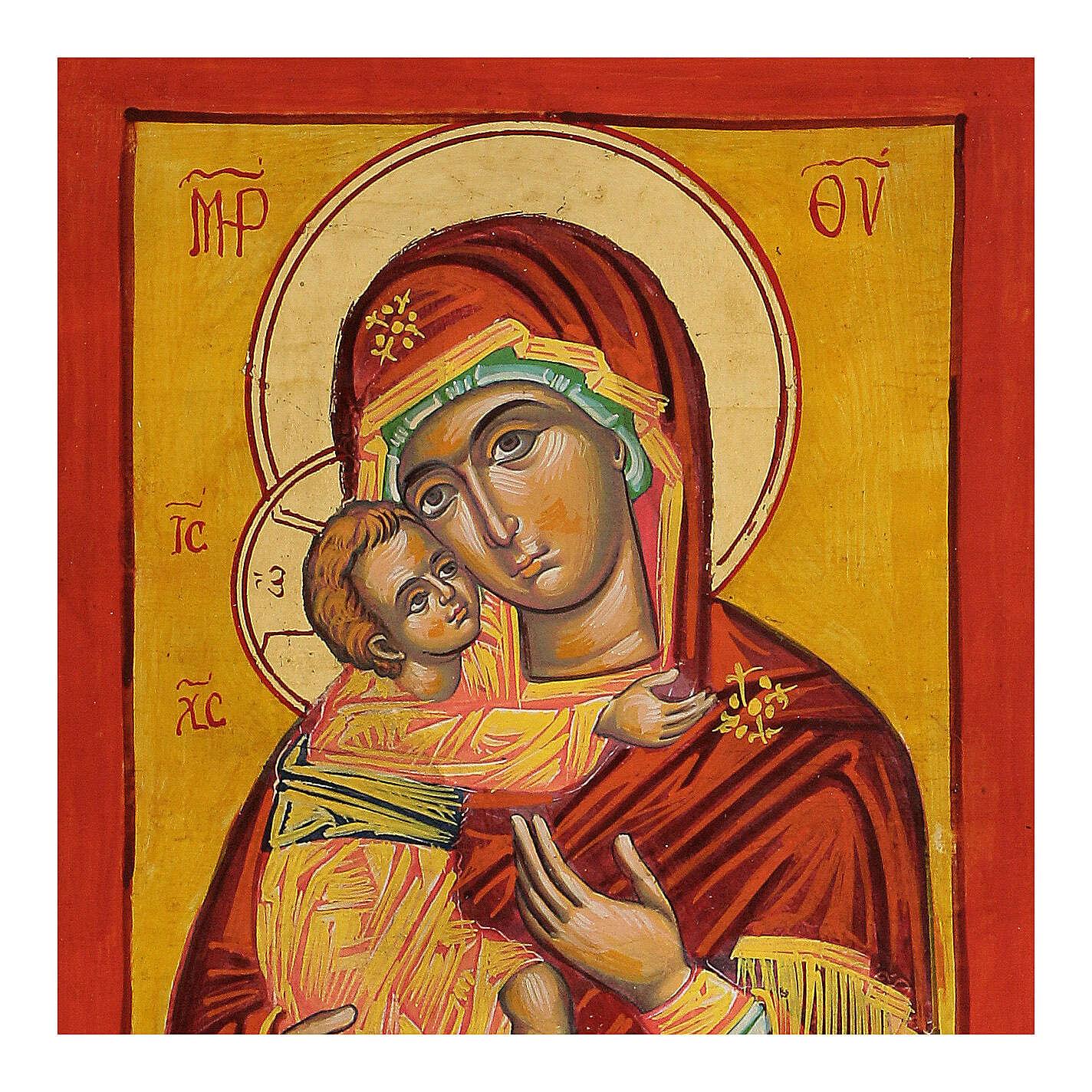 Icona Vergine Vladimir fondo ocra 4