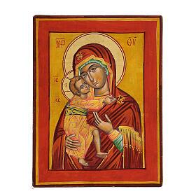 Icona Vergine Vladimir fondo ocra s1