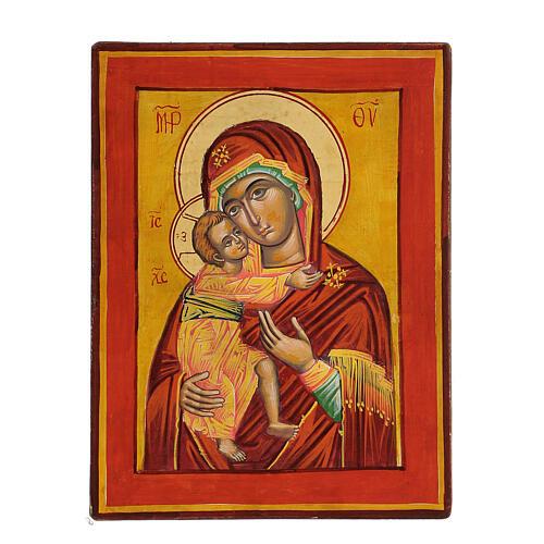 Icona Vergine Vladimir fondo ocra 1