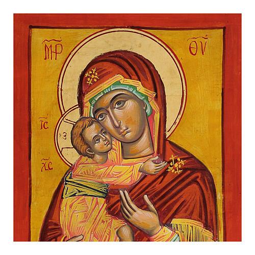Icona Vergine Vladimir fondo ocra 2