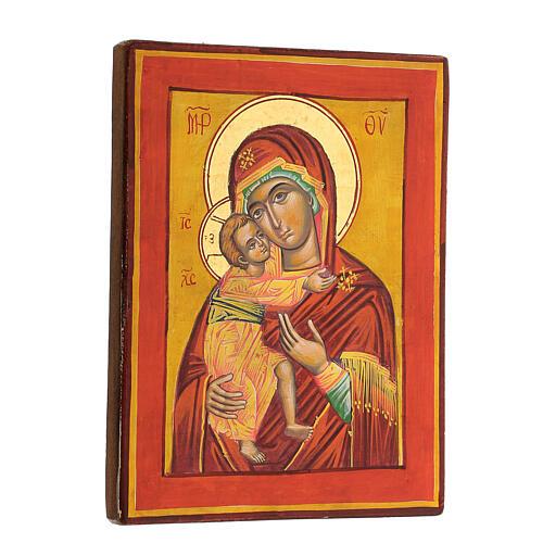 Icona Vergine Vladimir fondo ocra 3