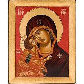 Icona religiosa Vergine della Tenerezza dipinta Grecia s1