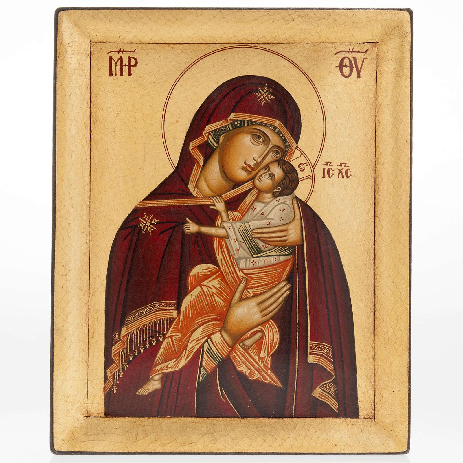 Ícono Madre de Dios de la Ternura pintada Grecia 4