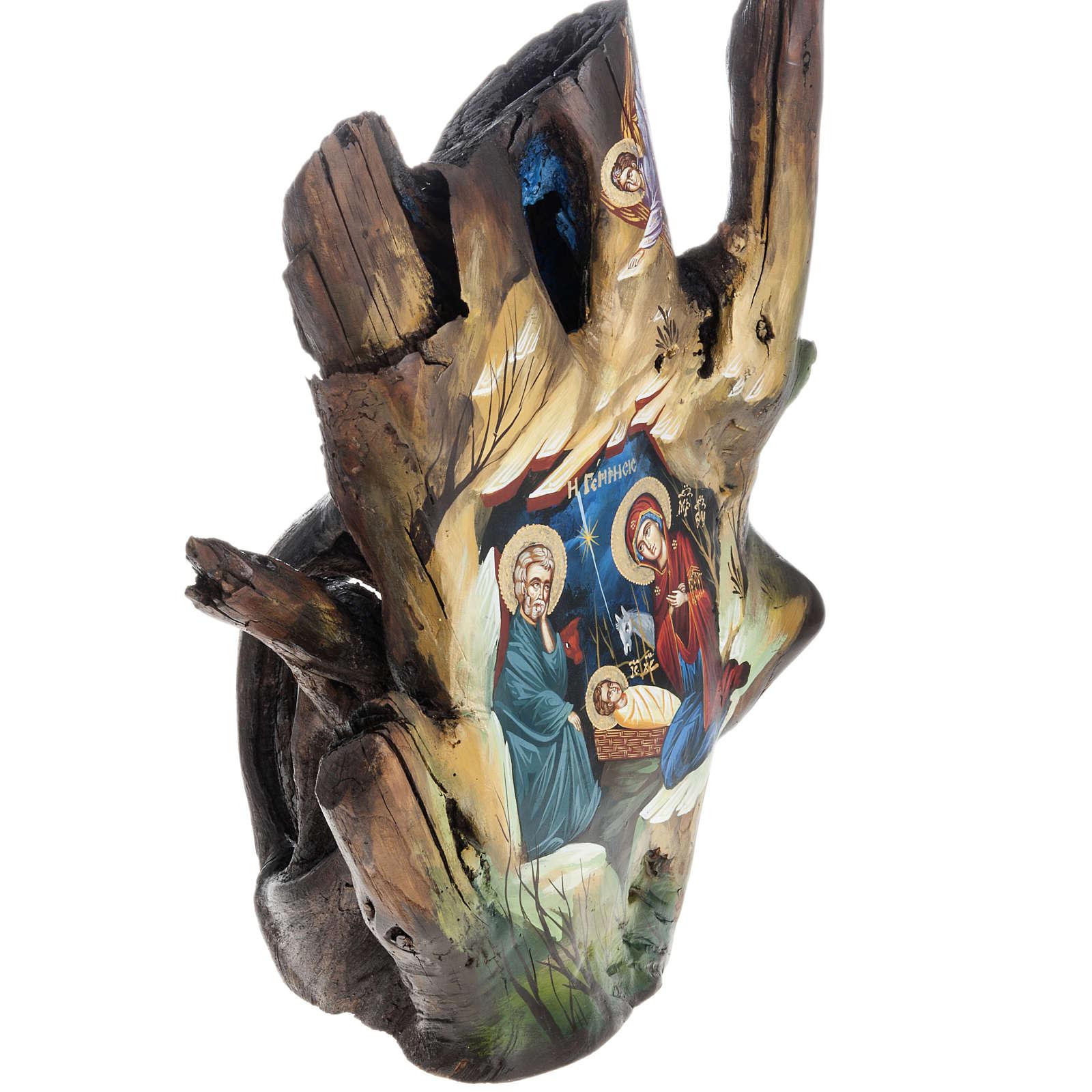 Icona dipinta su tronco 50x30 cm 4