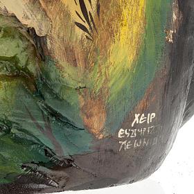 Icona dipinta su tronco 50x30 cm s11