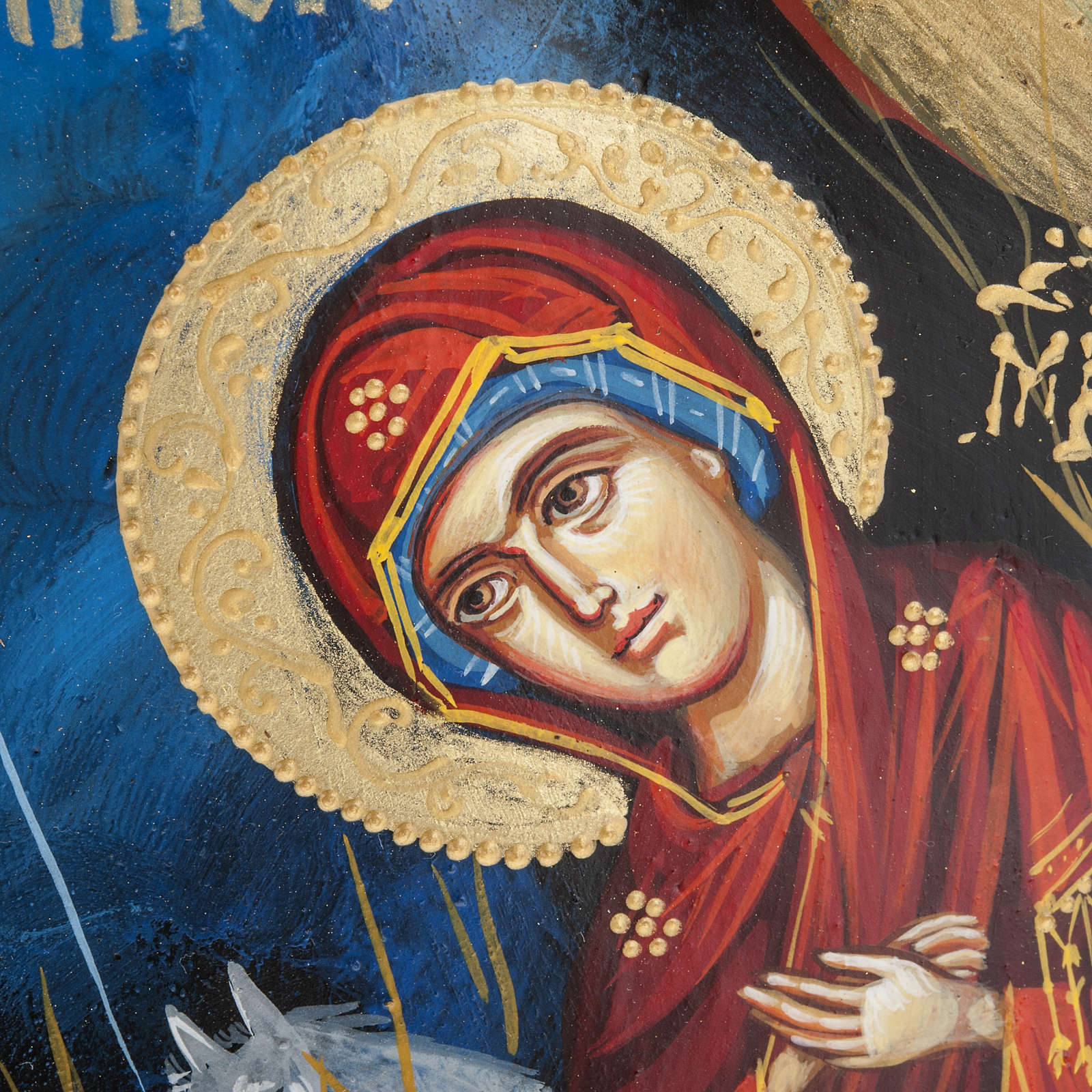 Greek icon painted on trunk 50x30 cm 4