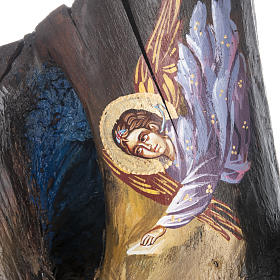 Greek icon painted on trunk 50x30 cm s5