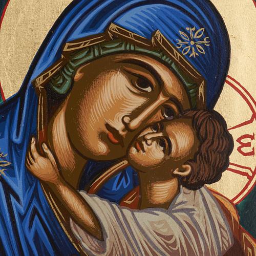Icône Vierge Éléousa sérigraphiée et peinte Grèce 2
