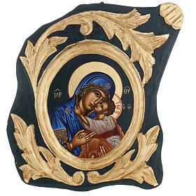Icona Vergine Eleousa Grecia serigrafata e dipinta s1