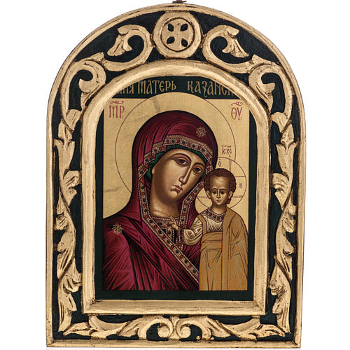 Icona Madonna di Kazan Grecia dipinta e serigrafata 1
