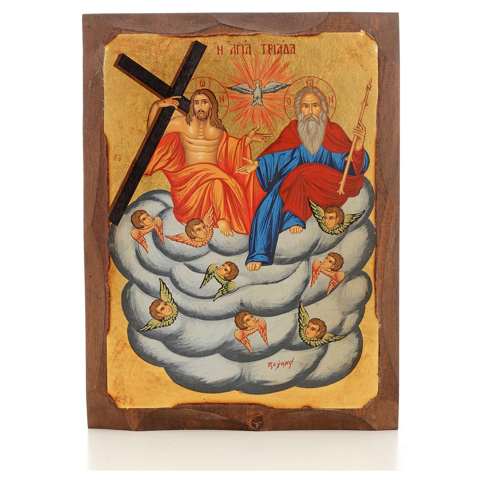 Icone Grecque peinte Sainte Trinité sur nouage 4