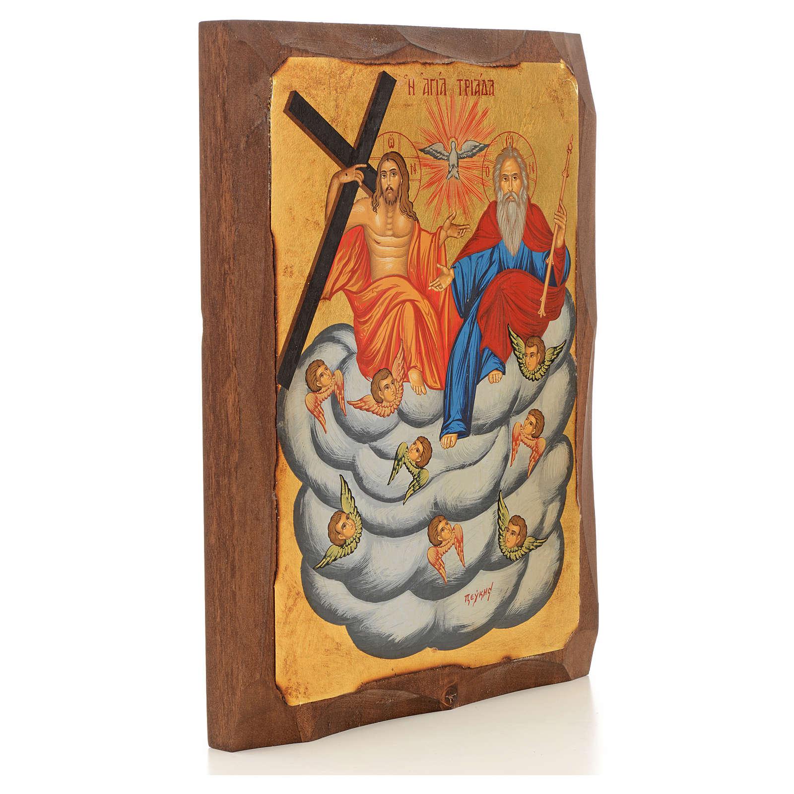 Icona Grecia dipinta SS. Trinità su nuvola 4